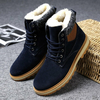 Mens Winter Ankle Boots Fur Lined Safety Shoes Lace Up With Velvet Thicken Flats