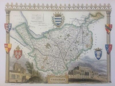 "Cheshire Antique Colour Map by Thomas Moule County Maps of Old England 14""x10"""