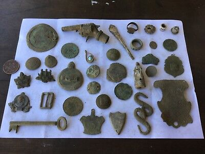 Collection Of Antique Old Metal Detecting Finds Coins Figure Jewellery Rings Etc