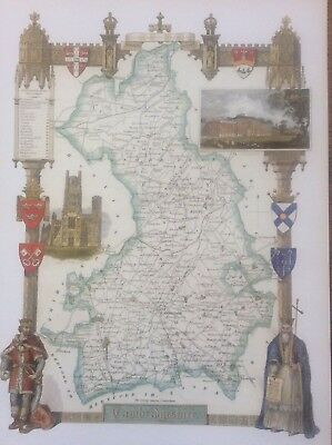 """Cambridgeshire Antique Colour Map by Thomas Moule County Maps of Old England 14"""""""