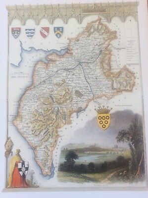 """Cumberland Antique Colour Map by Thomas Moule County Maps of Old England 14"""""""