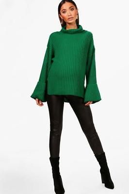 Boohoo Maternity Milly OVERSIZED Ribbed Boyfriend Jumper Size 12-16 BNWT Emerald