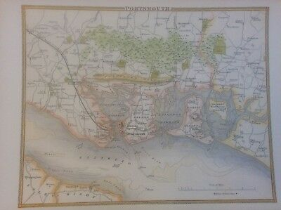 """Portsmouth Antique Colour Map by Thomas Moule County Maps of Old England 14"""""""