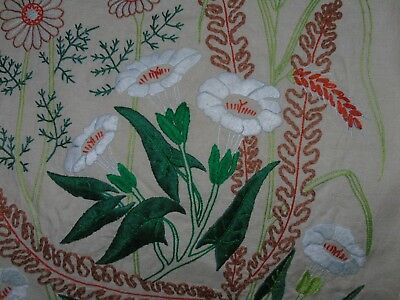 Beautiful vintage hand embroidered boudoir cushion pillow covers 16 ins x 25 ins
