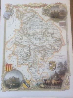 Huntingdonshire Antique Colour Map Thomas Moule County Maps of Old England 14""