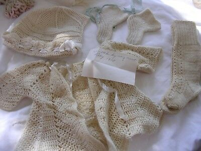 #J  Lot of  Antique Wool Knitted Baby Clothes Sweater Hat Booties~ 100 yrs Old