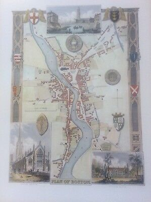 """Plan of Boston Antique Colour Map by Thomas Moule County Maps of Old England 14"""""""