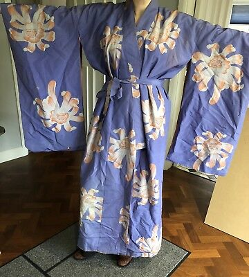 True Vintage Silk Purple And Pink Floral Kimono Robe Worh Huge Sleeves One Size