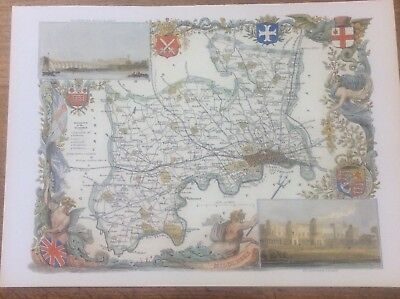 """Middlesex Antique Colour Map by Thomas Moule County Maps of Old England 14"""""""