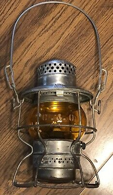 Antique Adlake Kero C&O Chesapeake And Ohio Railroad Lantern Etched Amber Globe