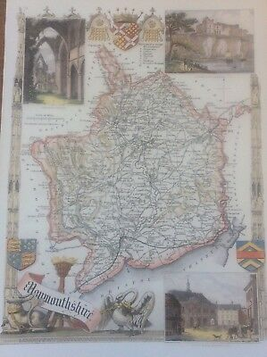 Monmouthshire Antique Colour Map by Thomas Moule County Maps of Old England 14""