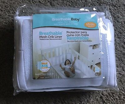 Breathable Baby Infant Newborn Mesh Crib Liner Bumper, Nursery Bedding, White
