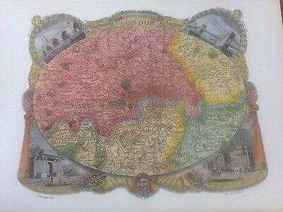 """London environs Antique Colour Map Thomas Moule County Maps of Old England 14"""""""
