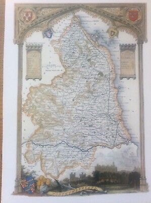 """Northumberland Antique Colour Map Thomas Moule County Maps of Old England 14"""""""
