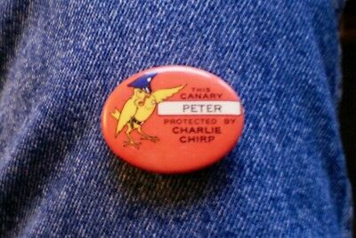 "1940's French's Bird Seed & Biscuit Co. Charlie Chirp 1 1/2"" Cello Clothing Pin"