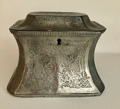 A Skinner & Co Sheffield Plated Tea Caddy 19thC Engraved