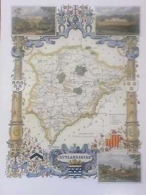 Rutlandshire Antique Colour Map by Thomas Moule County Maps of Old England 14""