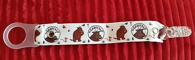 Girls boys baby childs dummy strap clip ribbon mam adapter pink blue Gruffalo