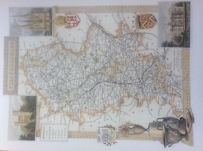 """Staffordshire Antique Colour Map by Thomas Moule County Maps of Old England 14"""""""