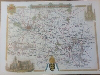 """Bath & Bristol Antique Colour Map by Thomas Moule County Maps of Old England 14"""""""