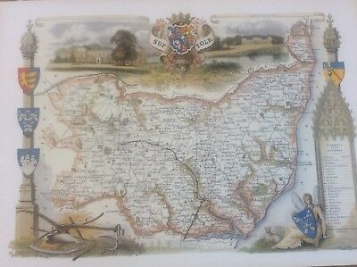 """Suffolk Antique Colour Map by Thomas Moule County Maps of Old England 14"""""""