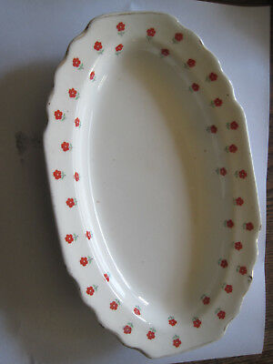 "VTG W.S. George Lido Blushing Rose Dalrymple 9.25"" RELISH Plate-Red Daisy"