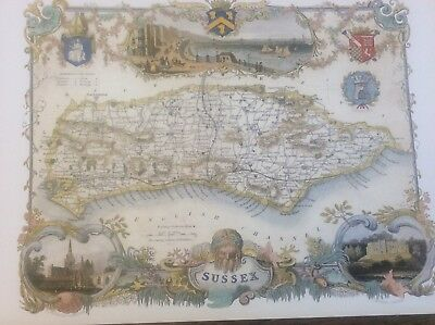 """Sussex Antique Colour Map by Thomas Moule County Maps of Old England 14"""""""
