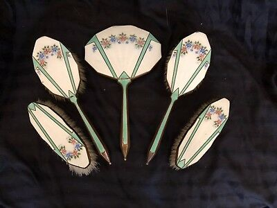 5 Piece Vintage Vanity Set Mirror Hair Brushes Clothes Brush Art Deco Style