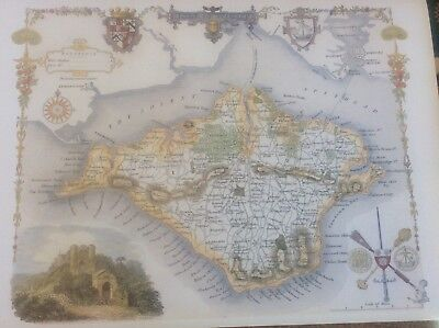 Isle of Wight Antique Colour Map by Thomas Moule County Maps of Old England 14""