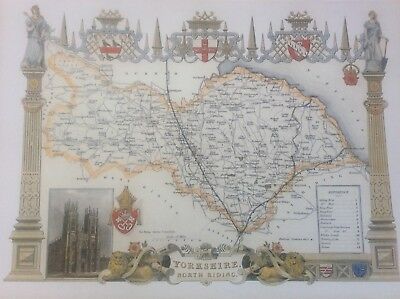 """North Yorkshire Antique Colour Map Thomas Moule County Maps of Old England 14"""""""