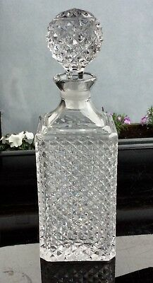 Lovely Lead Crystal Hob Nail Decanter, With Matching Stopper.