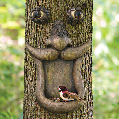 Bits and Pieces-Tree Face Bird Feeder Outdoor Tree Hugger Sculpture-Whimsical