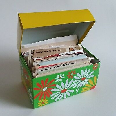 Vintage Yellow Green Daisies Recipe Box Syndicate MFG Co. Metal Floral Recipes