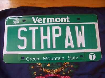 "Vermont Vanity License Plate-South Paw-""sthpaw"" Mint Shape Grn Mountain,nice One"