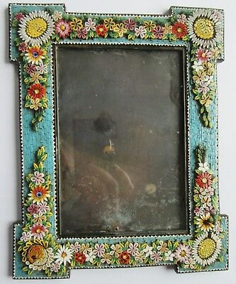 Antique Micro Mosaic Picture Photo Frame Raised Flowers Micromosaic