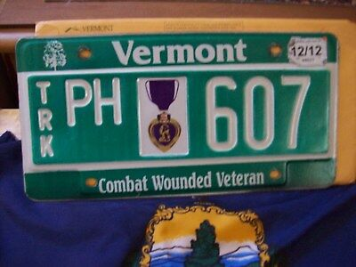 Vermont Purple Heart Plate Combat Wounded Veteran #607 With A Dmv Envelope Wow