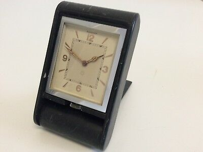 Jaeger LeCoultre Swiss Art Deco Uhr groß Reisewecker 8Tage Patent1940-50 läuft