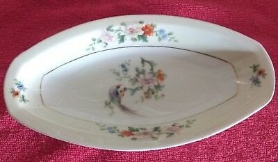 Heinrich & Co. H & Co Selb Bavaria Serving Dish Hand Painted Bird And Flowers