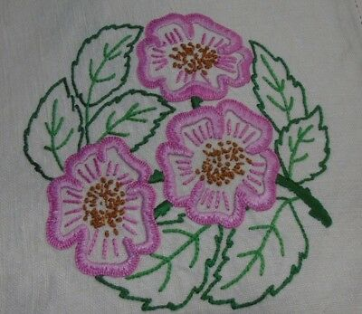 Vintage Tablecloth - Hand Embroidered National Flowers Of The Uk - Linen
