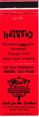 VINTAGE Matchbook Cover: ......PINI'S ISLAND RESTAURANT, Warren, RI