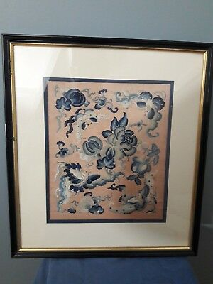 Antique Chinese Hand Embroidery Silk. In Frame.