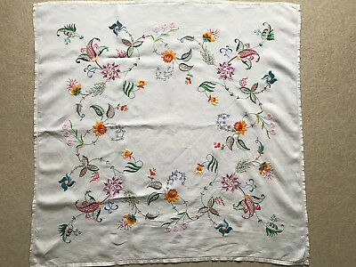 COLOURFUL VINTAGE HAND EMBROIDERED LINEN TABLECLOTH 40 inches x 41 inches