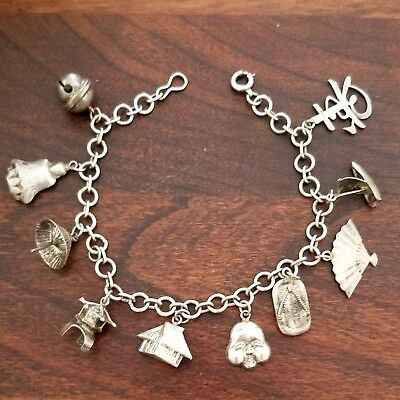 Beautiful Vintage Chinese Japanese Sterling Silver Charm Bracelet with 10 Charms