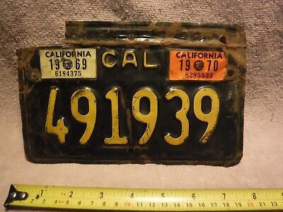 California 1969/1970 Motorcycle License Plate - Used