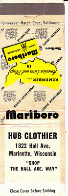 VINTAGE Matchbook Cover: ........HUB CLOTHIER, Marinette, WI