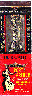 VINTAGE Matchbook Cover: ........PORT ARTHUR RESTAURANT, Providence, RI
