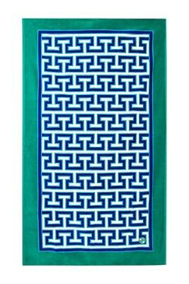 NEW Jonathan Adler Mykonos Beach Towel, Blue, Green