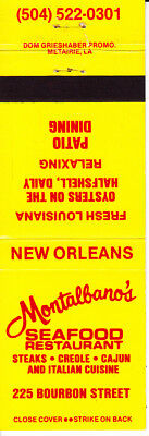 Matchbook Cover: .........MONTALBANO'S SEAFOOD RESTAURANT, New Orleans, LA