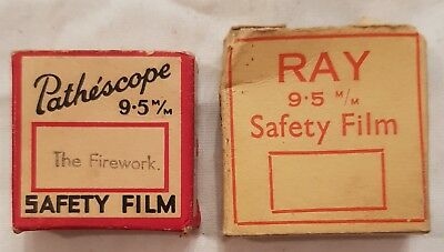 2 Vintage Silent Movie 9.5mm films PATHESCOPE The Firework & RAY unknown 15 feet