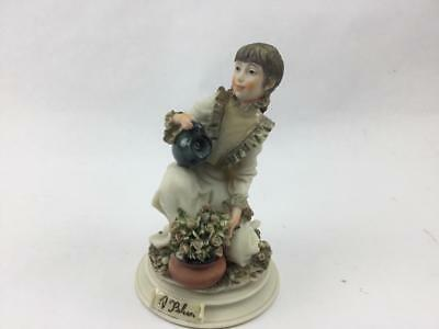 "Belcari Signed Figurine Capodimonte Girl Watering Flowers 6"" Italy"
